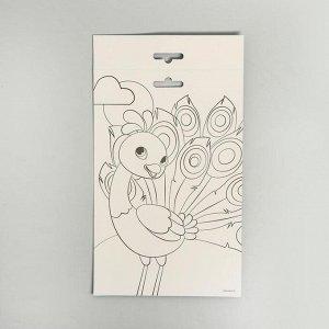 Аппликация перьями «Прекрасный павлин» 14,8х21 см