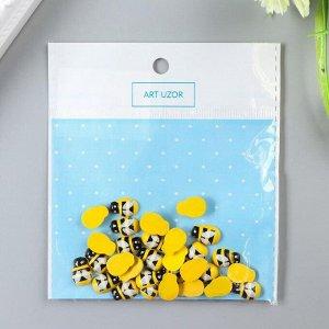 """Декор для творчества дерево """"Жёлтая пчёлка"""" набор 30 шт 0,9х1,3 см"""