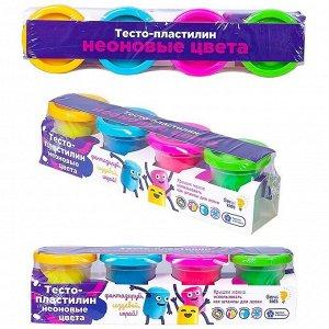 "Набор для лепки Genio Kids ""Тесто-пластилин. Неоновые цвета"", 4 цвета, картон, пленка"