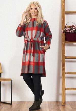 Пальто Bazalini 3555 красно-серый