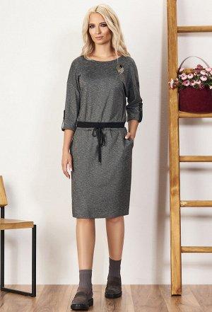 Платье Bazalini 3426 серо-черное