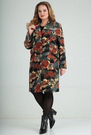 Пальто Lady Line 486 коричневый цветы