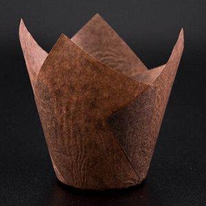 Форма-тюльпан для выпечки коричневая 80*50, 20 шт