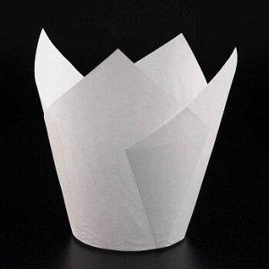 Форма-тюльпан для выпечки белая 80*50 мм, 20 шт