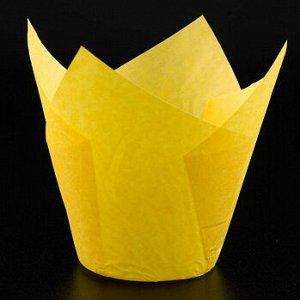 Форма-тюльпан для выпечки желтая 80*50 мм, 20 шт