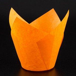 Форма-тюльпан для выпечки оранжевая 80*50, 20 шт