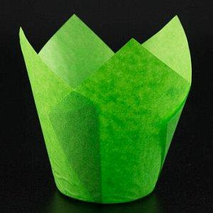 Форма-тюльпан для выпечки зеленая 80*50, 20 шт