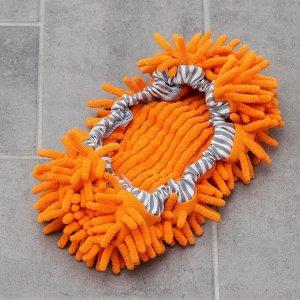 Насадка для плоской гибкой швабры на резинке, 29?13 см, микрофибра букли, цвет МИКС