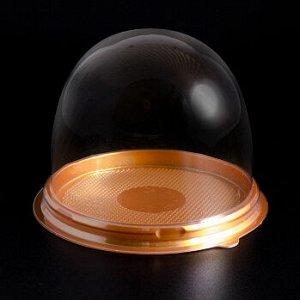 Контейнер круглый для пирожного 90*80 мм, золотое дно