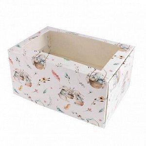 """Коробка для 2 капкейков с окном """"Кролики и верба"""""""