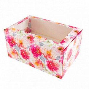 """Коробка для 2 капкейков с окном """"Пионы акварельные"""""""