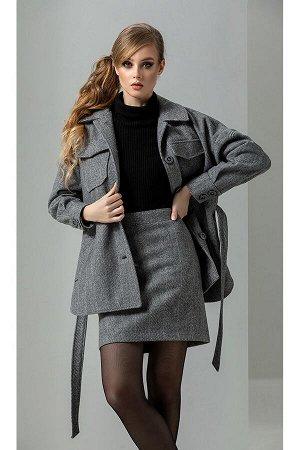 Водолазка, пальто, юбка Diva 1268-1 серый+черный