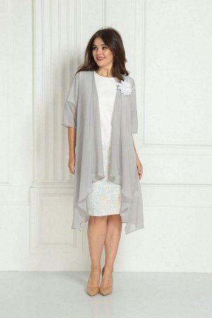 Накидка, платье Solomeya Lux 716 белый_с_серым