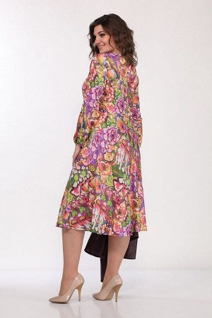 Жакет, платье Lady Style Classic 2256/4 бордовый-пионы