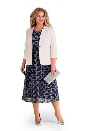 Жакет, платье Мишель стиль 918 молочный+синий