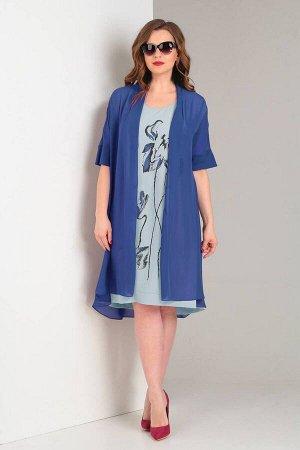 Накидка, платье Viola Style 5484 синий_-_серо-голубой
