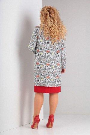 Кардиган, платье Ксения Стиль 1853 красный