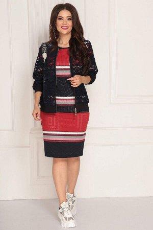 Бомбер, платье Solomeya Lux 714 сине-красный