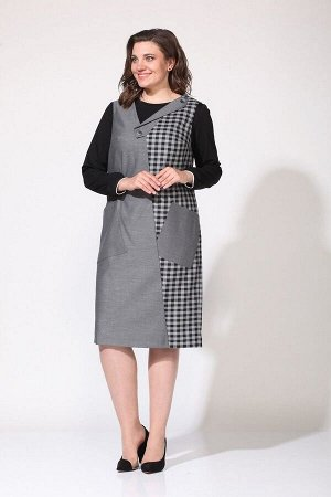 Джемпер, сарафан Lady Style Classic 2168 серый-черный