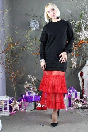 Платье Стильная леди М-281 черный/красный
