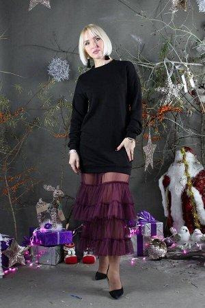 Платье Стильная леди М-281 черный/фиолет