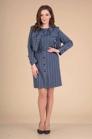 Жакет, платье Viola Style 5477 синий_в_полоску