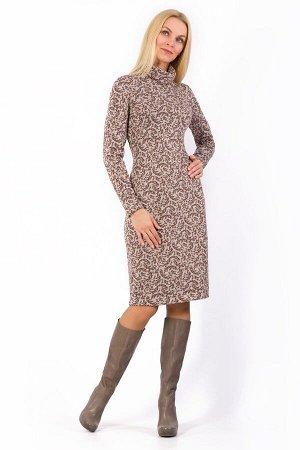 """Платье женское """"Элегант"""" меховое миди модель 685/4 бежевые веточки"""