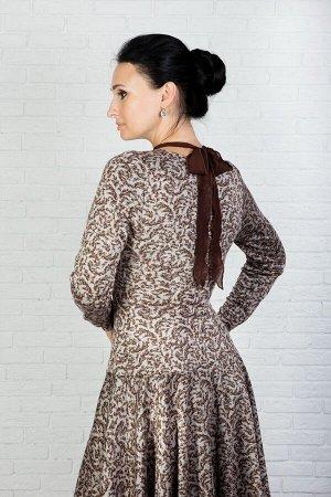 """Платье женское """"С бантиком"""" модель 615/2 бежевые веточки"""