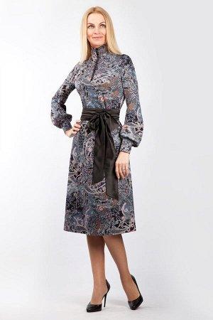 """Платье женское """"Полянка на обтяжных пуговицах"""" модель 759/4 серый огурчик"""