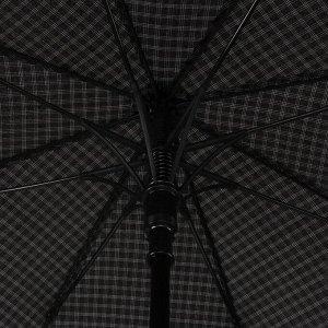 Зонт - трость полуавтоматический «Клетка», 8 спиц, R = 56 см, цвет чёрный