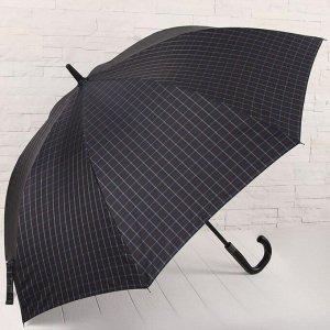 Зонт - трость полуавтоматический «Клетка», 8 спиц, R = 60 см, цвет тёмно - синий