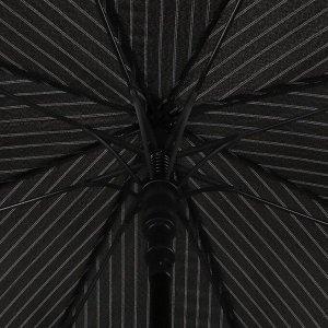 Зонт - трость полуавтоматический «Полоска», 8 спиц, R = 60 см, цвет чёрный