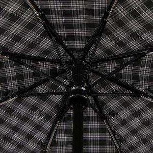 Зонт автоматический «Клетка», 3 сложения, 8 спиц, R = 51 см, ручка крюк, цвет чёрный
