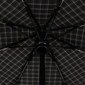 Зонт автоматический, облегчённый, «Клетка», 3 сложения, 8 спиц, R = 51 см, цвет серый