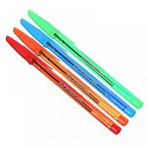 ClipStudio Ручка шариковая синяя, цветной прозрачный корпус, 1 мм, 4 цвета корпуса, инд.маркировка