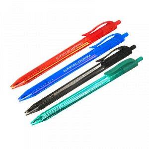 ClipStudio Авторучка шариковая синяя, тониров. трехгранный корпус, 0,7мм, 4 цв.корпуса, инд.марк.