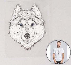 Термотрансфер «Волк», 15,5*20см, цвет чёрный/белый