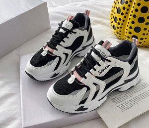 Женские дышащие разноцветные кроссовки, надпись на боковой части и язычке, цвет белый, серый, черный, розовый