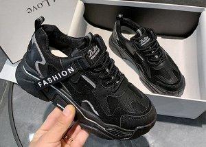 Женские кроссовки на объемной подошве, моноцвет черный