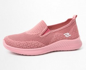 """Текстильные слипоны унисекс, надпись сбоку """"2"""", цвет розовый"""