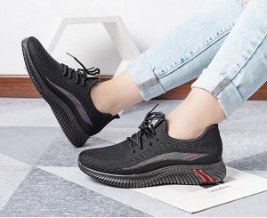 Текстильные женские кроссовки, радужная полоса на боковой части, цвет черный