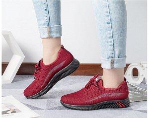 Текстильные женские кроссовки, радужная полоса на боковой части, цвет красный