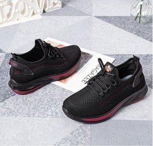 Текстильные женские кроссовки, красная полоса на подошве, цвет черный