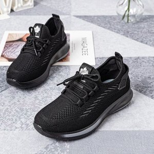 Текстильные женские кроссовки, серая полоса на подошве, цвет черный