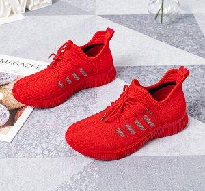 """Текстильные женские кроссовки, принт """"Четыре боковые полосы"""", цвет красный"""