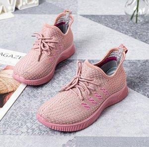 """Текстильные женские кроссовки, принт """"Четыре боковые полосы"""", цвет розовый"""