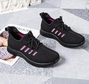 """Текстильные женские кроссовки, принт """"Четыре боковые полосы"""", цвет черный"""