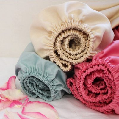 Нежные комплекты с цветочным настроением. — Простынь трикотажная на резинке — Постельное белье