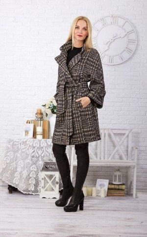 """Пальто шерстяное женское """"Любимое"""" модель 012 черно-бежевый узор"""