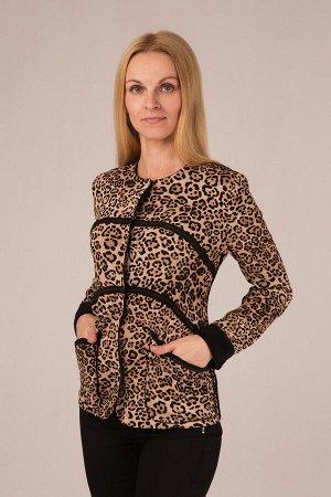 """Жакет женский меховой """"Домино"""" модель 709/2 бежевый леопард"""